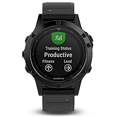 Garmin Fenix 5 Sapphire Black with Black Band 010-01688-10 and Three Additional Wearable4U Quick Release Silicone Watch Bands Bundle