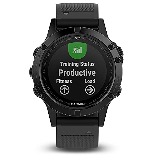Garmin Fenix 5 Sapphire Black with Black Band 010 01688 10 and Three Additional Wearable4U Quick Release Silicone Watch Bands Bundle