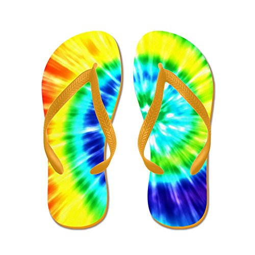 CafePress Rainbow Tie Dye - Flip Flops, Funny Thong Sandals, Beach Sandals Orange