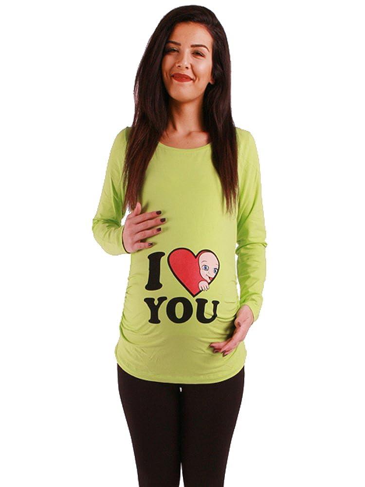 T-Shirt de maternit/é /à Manches Longues Sweat de maternit/é avec Motif pour la Grossesse V/êtement de maternit/é Mignon Et Rigolo I Love You Haut Humour Femme Maternite