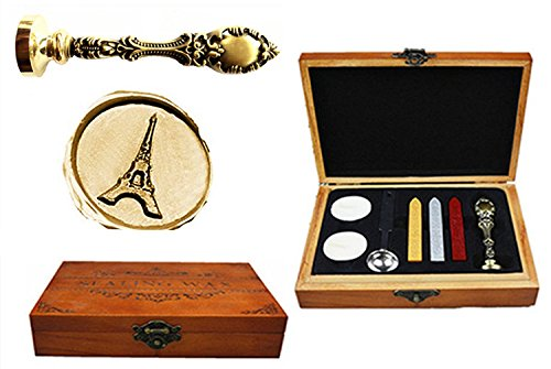 MNYR Vintage The Eiffel Tower Decorative Luxury Wood Box Bronze Metal Peacock Wedding Invitations Gift Cards Paper Stationary Envelope Custom Wax Seal Sealing Stamp Sticks Melting Spoon Gift Box Set