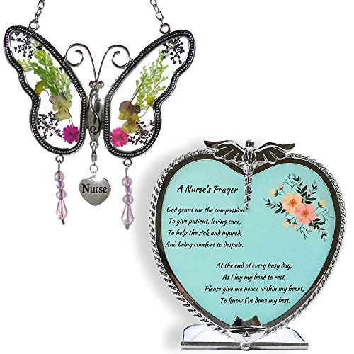 (BANBERRY DESIGNS Nurse Gift Set Butterfly Suncatcher with Pressed Flower Wings & Candleholder - Gifts for Nurses - Nurse Practitioners - Nurse Gifts - Nurse Graduation Gifts )