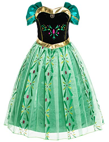 Princess Anna Costumes Birthday Party Dress Up for Little Girls 4T 5T -