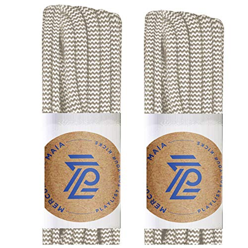 (Mercury + Maia Round Shoe Laces for Sneakers and Boots - USA Made [2 Pair Pack] (Sinatra Sand/White, 54 inches))