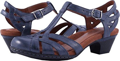 Rockport Cobb Hill  Women's Aubrey-CH Heeled Sandal,  Navy, 8 M US (Rockport Ladies Sandals)