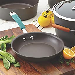 Rachael Ray Cucina Hard-Anodized Aluminum Nonstick Skillet Set, 9.25-Inch and 11.5-Inch, Gray/Agave Blue