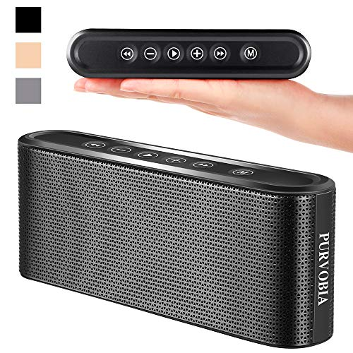 PURVOBIA Ultra Thin Slim Bluetooth Speaker – Bluetooth 5.0 Wireless Speaker Mini Portable Player Deep Bass Stereo Sound | Smart Touch Control w/ 20 Hour Playtime 5000mAh Power Bank Battery (Black)