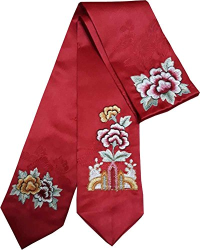 HANBOK DAENGGI RED EMBROIDERY Korean Traditional Hair Accessory daenggi bassi Girls Junior Womans red by Hanbok store
