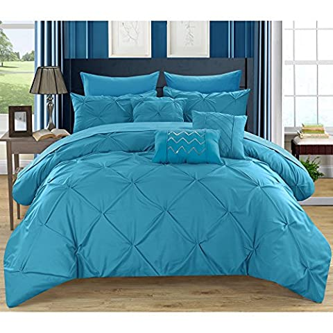 Chic Home Valentina Modern Solid Turquoise Stitching Pinched Ruffled Pleated Bedding Queen Comforter (10 Piece in a - Black Lacquer Full Futon Frame