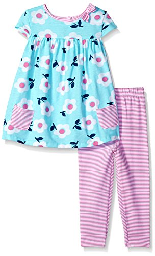 Gerber Baby Girls Tunic and Legging Set, Flower Stripes, 24 - Clothing 424