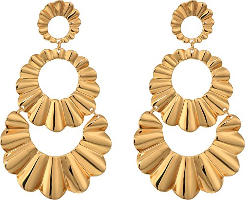 (Kate Spade New York Women's Scrunched Scallops Triple Drop Earrings Gold One Size)