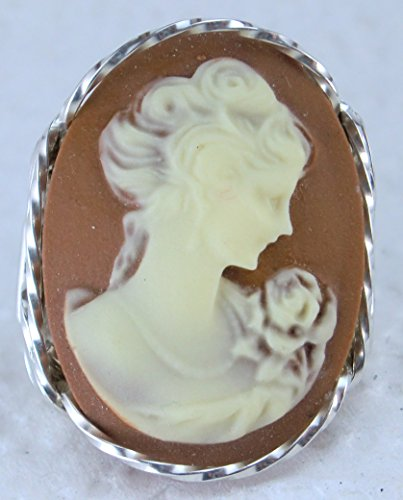 Fine Lady with rose Large Coffee Cameo .925 Sterling Silver Ring or 14k Gold gf Art Jewelry HGJ