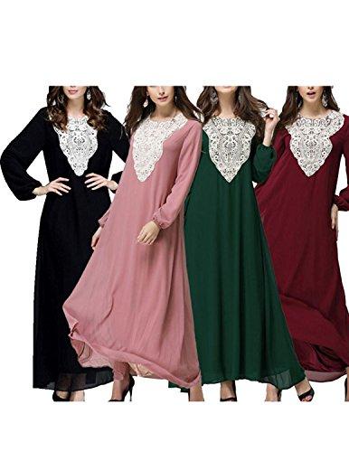 BYD Mujeres Elegant Vestido de Musulmán Árabe Túnica Manga Larga Largos Vestidos Rosa