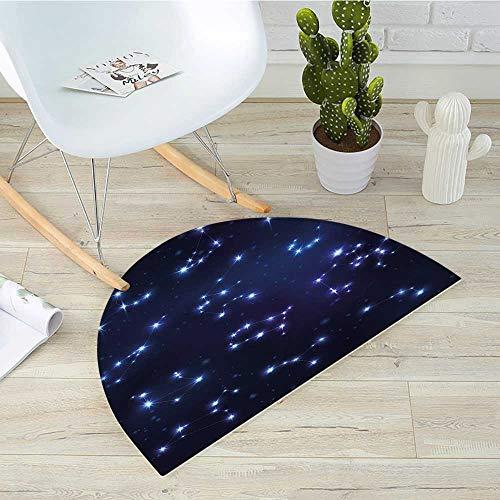 (Constellation Half Round Door mats Realistic Celestial Gemini Leo Pisces Sagittarius Galactic Bathroom Mat H 43.3