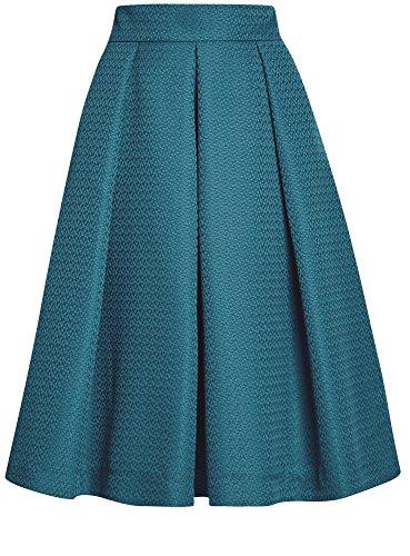 oodji Collection Mujer Falda Midi con Pliegues Verde (6C00N)