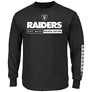 Oakland Raiders Black Primary Receiver 2 Long Sleeve Football Tee Shirt by Majestic