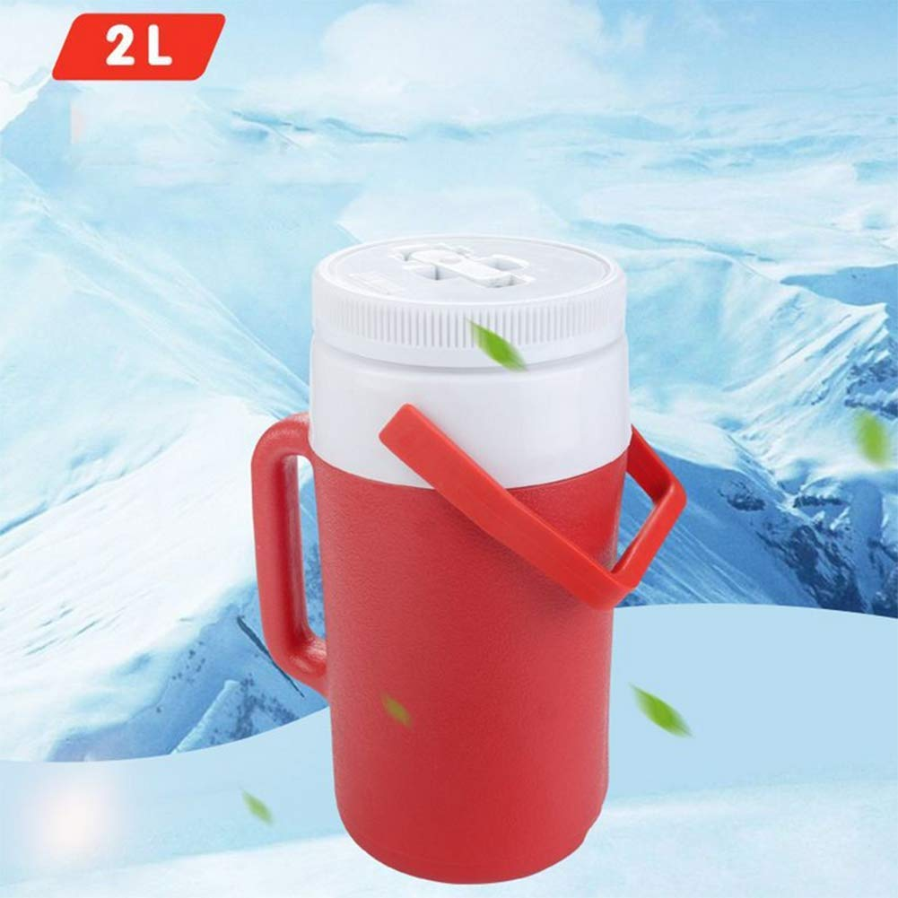 AGQLT Thermos Cup Household 2L Plastic Refrigeration Outside Picnic Cup Portable Cooler Box,red