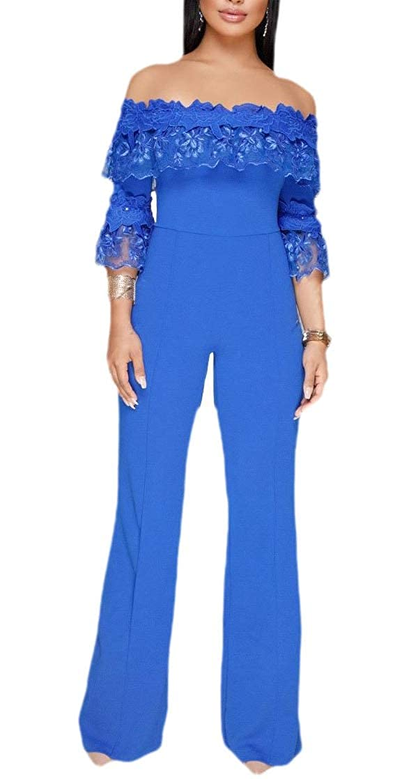 Keaac Womens Playsuits Palazzo Off The Shoulder High Waist Fashion Long Rompers