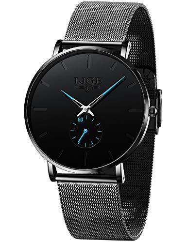 LIGE Men's Black Ultra Thin Watches Minimalist Fashion Gent Business Dress Wrist Watches Analog Quartz Waterproof Watch