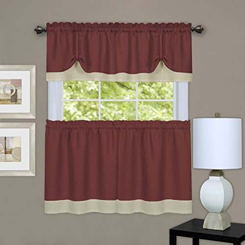 Sweet Home Collection 3 Piece Kitchen Curtain Printed Design Pair and Tie up Valance, 36