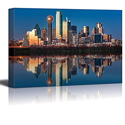 USA City Skyline Canvas Wall Art - Dallas Skyline Reflected in Trinity River at Sunset, Texas - Gallery Wrap Modern Home Art | Ready to Hang - 16x24