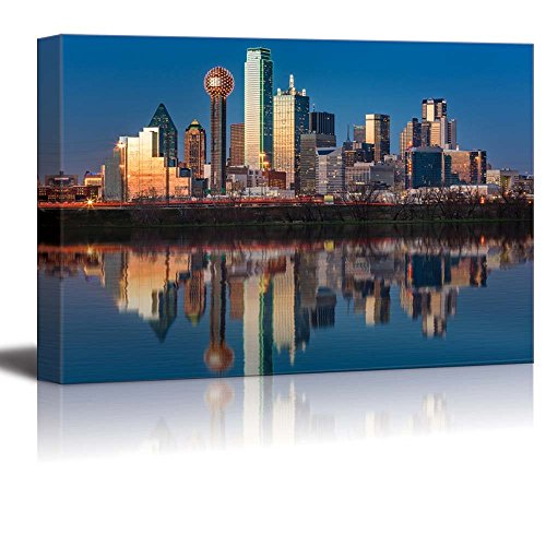 wall26 USA City Skyline Canvas Wall Art - Dallas Skyline Reflected in Trinity River at Sunset, Texas - Gallery Wrap Modern Home Decor | Ready to Hang - (Waterfront Art Set)