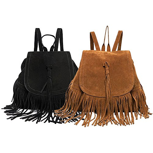 LUI Fringed Suede Large Fashion Tassel Bag Black Leather Casual Capacity SUI Women's Backpack Faux Hippie Satchel gqrgCw