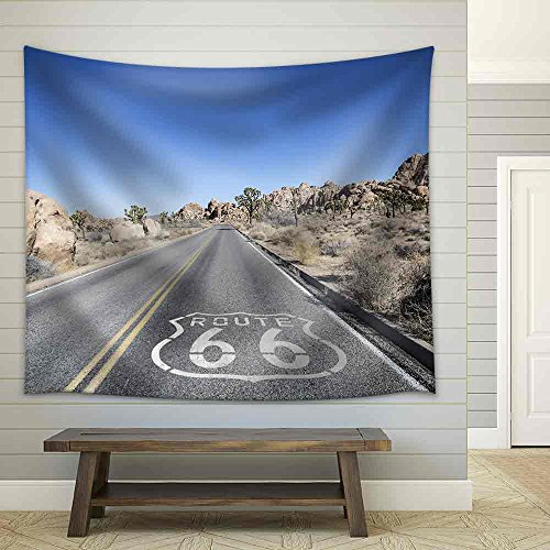 wall26 - Joshua Tree Highway with Route 66 Pavement Sign in California'S Mojave Desert. - Fabric Wall Tapestry Home Decor - 68x80 inches (66 Tapestry Route)