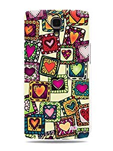 GRÜV Premium Case - 'Hearts Stamp Quilt Collage' Design - Best Quality Designer Print on White Hard Cover - for Samsung Galaxy Mega 6.3 i9200