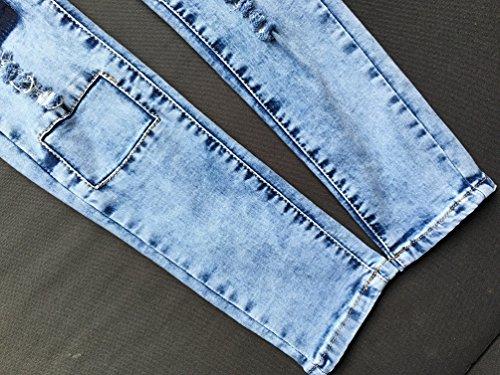 Bleu Mode Stretch Femme Troué Skinny Haute Yilianda Taille Pantalon w7nv06qw81