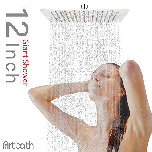 Artbath 12 Inch Rainfall Shower Head Square Stainless Steel Shower Body Extra Large Spary Wall or Ceiling Mount Fixed Showerhead, Chrome
