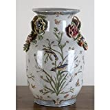 Home decor. White Flower Bird Vase. Dimension: 9 x 9 x 14. Pattern: Satin Grass.