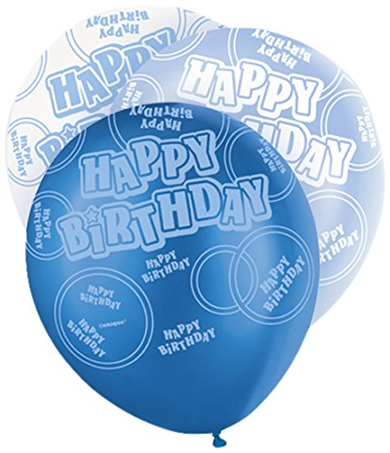 "29 opinioni per Unique Party 80880 Palloncini Lattice ""Happy Birthday"", Confezione da 6, Blu"