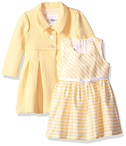 Bonnie Baby Baby Girls Dress and Coat Set, Yellow, 6-9 Months ()