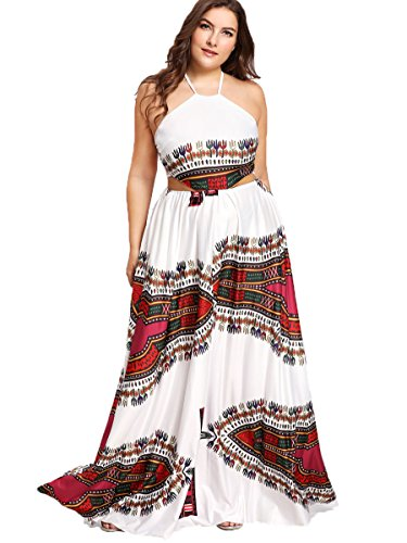 Floerns Women's Plus Size Bohemian Print Sleeveless Party Maxi Dress Multicolor 3X