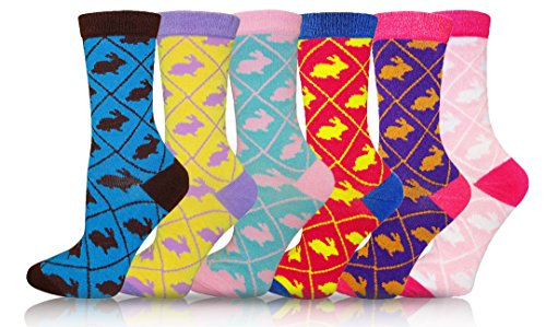 (ICONOFLASH Casual Printed Bundle Crew Socks, Assorted Colors, Packs of 6 (Argyle Rabbits, Size 9-11))