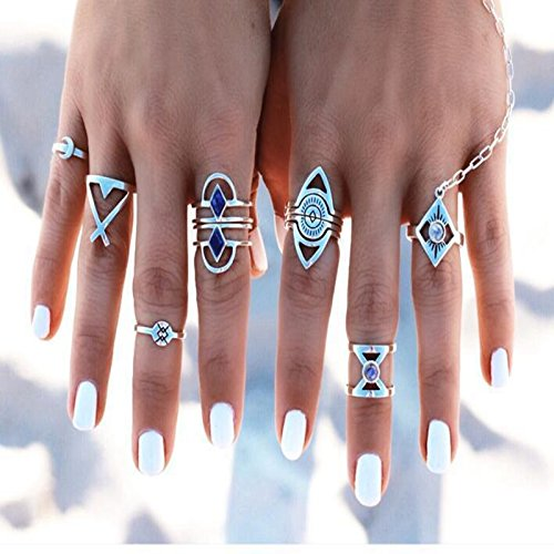 Iumer Women Gold Silver Above Knuckle Finger Ring Rings Summer Beach Travel Jewelry 5Pcs/Set