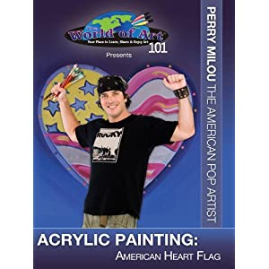 Acrylic Painting: American Heart Flag