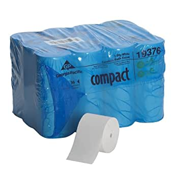 """Georgia-Pacific Compact 193-76 4.04"""" Length, 3.85"""" Width, 4.75"""" Roll Diameter Coreless 1-Ply Bathroom Tissue (Roll of 36)"""