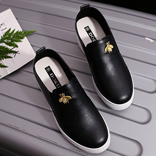 Btrada Women Casual Loafers Sneaker Embroidery Thick Bottom High Hidden Slide-On Shoes Black 0hZpwoUV