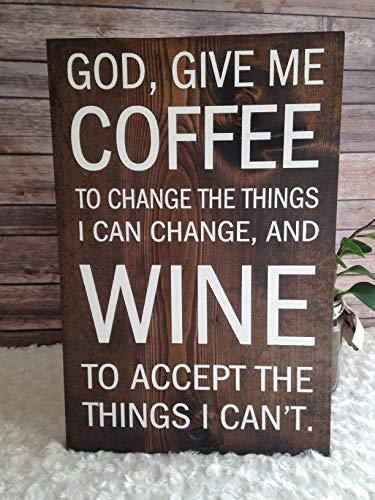 Olga212Patrick Coffee Version of The Serenity Prayer 11 x 17 inches Wood Plaque Sign