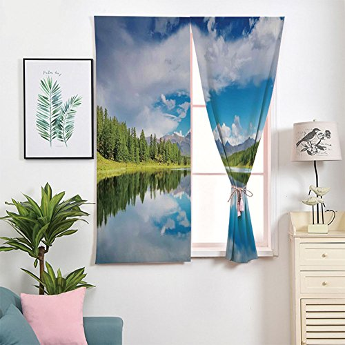 Voile Panel Skirt - iPrint 3D Blackout Window Curtains,Free Punching Magic Stickers Curtain Portable,Paste Style,Reflection Scene at The Skirts of Altai Mountain,2 Panels,for Living Room