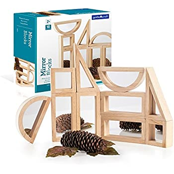 Guidecraft Mirror Blocks Set - 10 Pcs. Kids Learning & Educational Toys, Stacking Blocks