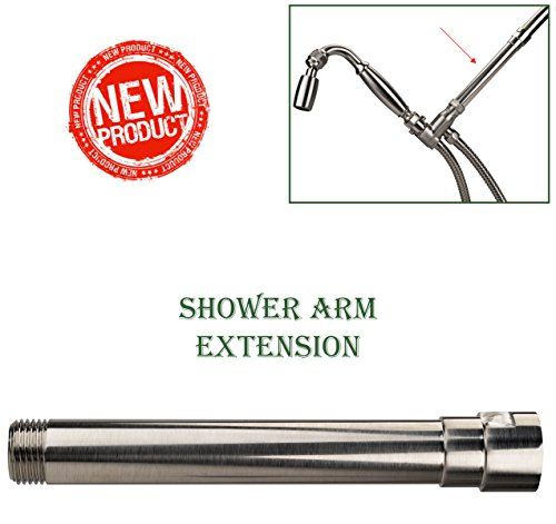 High Sierra's Exclusive All Metal Shower Arm Extension - Lowers Existing Shower Head/ Handheld Shower Unit. Available in: Chrome, Brushed Nickel, Oil Rubbed Bronze, or Polished Brass - Showerhead Units