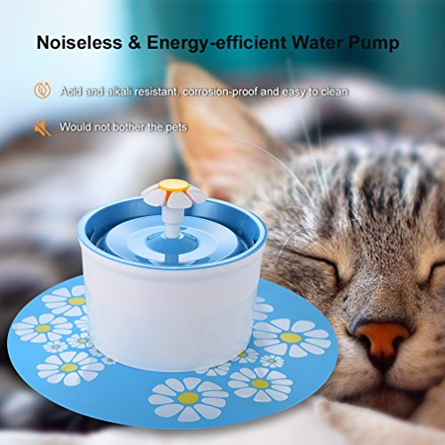 Pet Fountain Cat Dog Water Dispenser- Healthy and Hygienic Super Quiet Automatic Electric Water Bowl, Drinking Fountain for Dogs, Cats, Birds and Small Animals (1.5L, Blue) by Petacc (Image #6)