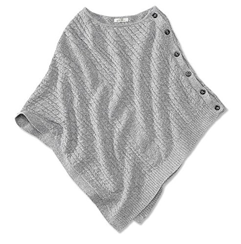 Orvis Women's Cable Detail Side-button Poncho, Heather Gray