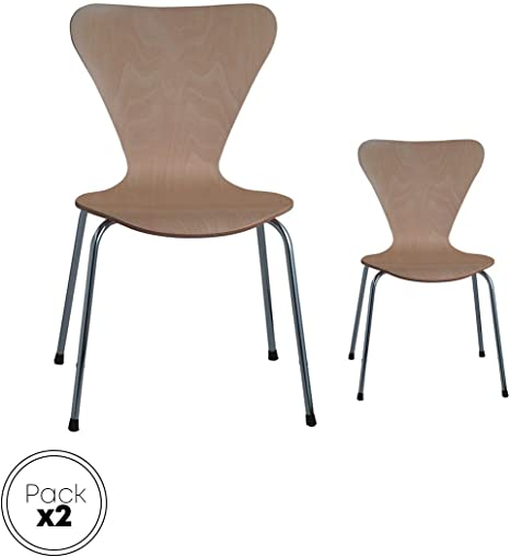 Danesa natural silla metálica, asiento madera apilable para ...