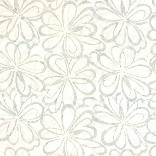 (Wilmington Prints Batiks Graphic Floral White Fabric Fabric by the Yard)