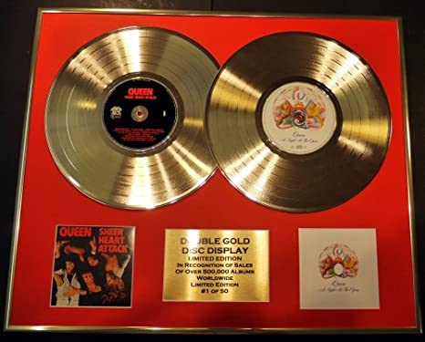 Queen Double Gold Vinyl Record Cd Photo Display Limited Edition Coa Sheer Heart Attack A Night At The Opera Küche Haushalt