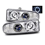 1998 chevy s10 headlight assembly - SPPC Chrome Projector Headlights Assembly with Halo Rings for Chevrolet S10 /Blazer - (Pair) Driver Left and Passenger Right Side Replacement Headlamp